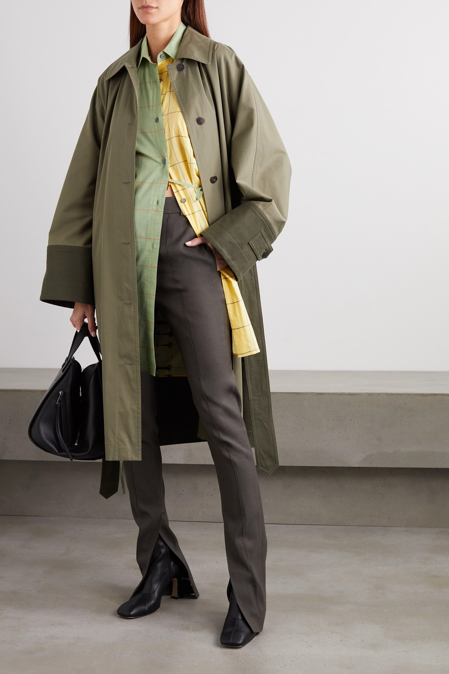 Loewe Belted two-tone cotton-gabardine and canvas trench coat
