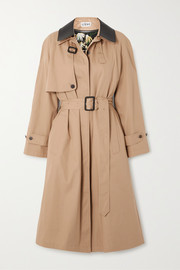 Leather-trimmed cotton and silk-blend trench coat