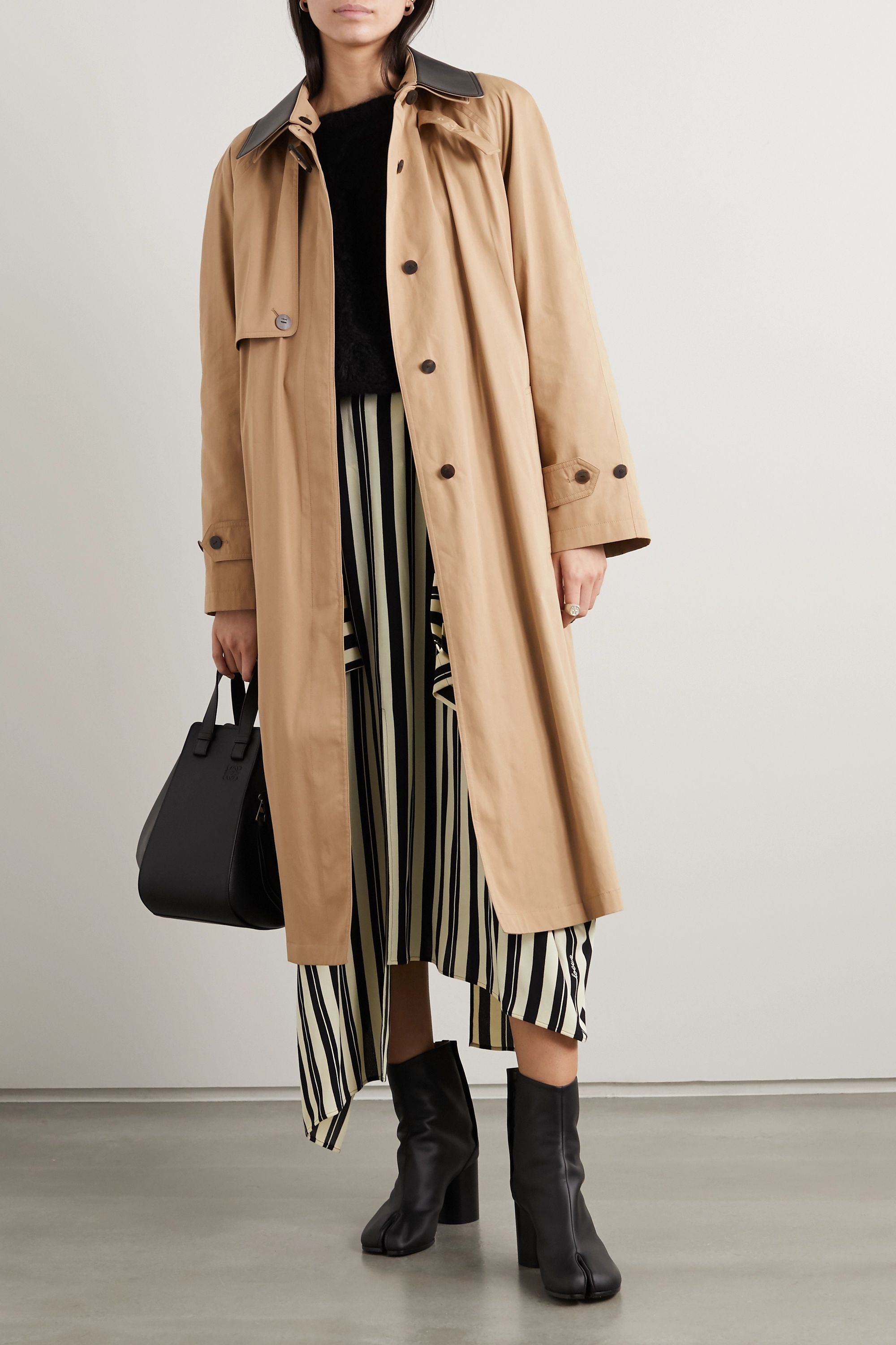 Loewe Leather-trimmed cotton and silk-blend trench coat