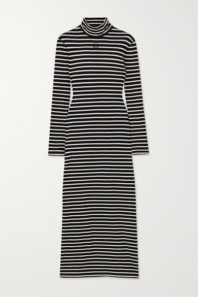 Loewe Striped Cotton-jersey Turtleneck Midi Dress In Black