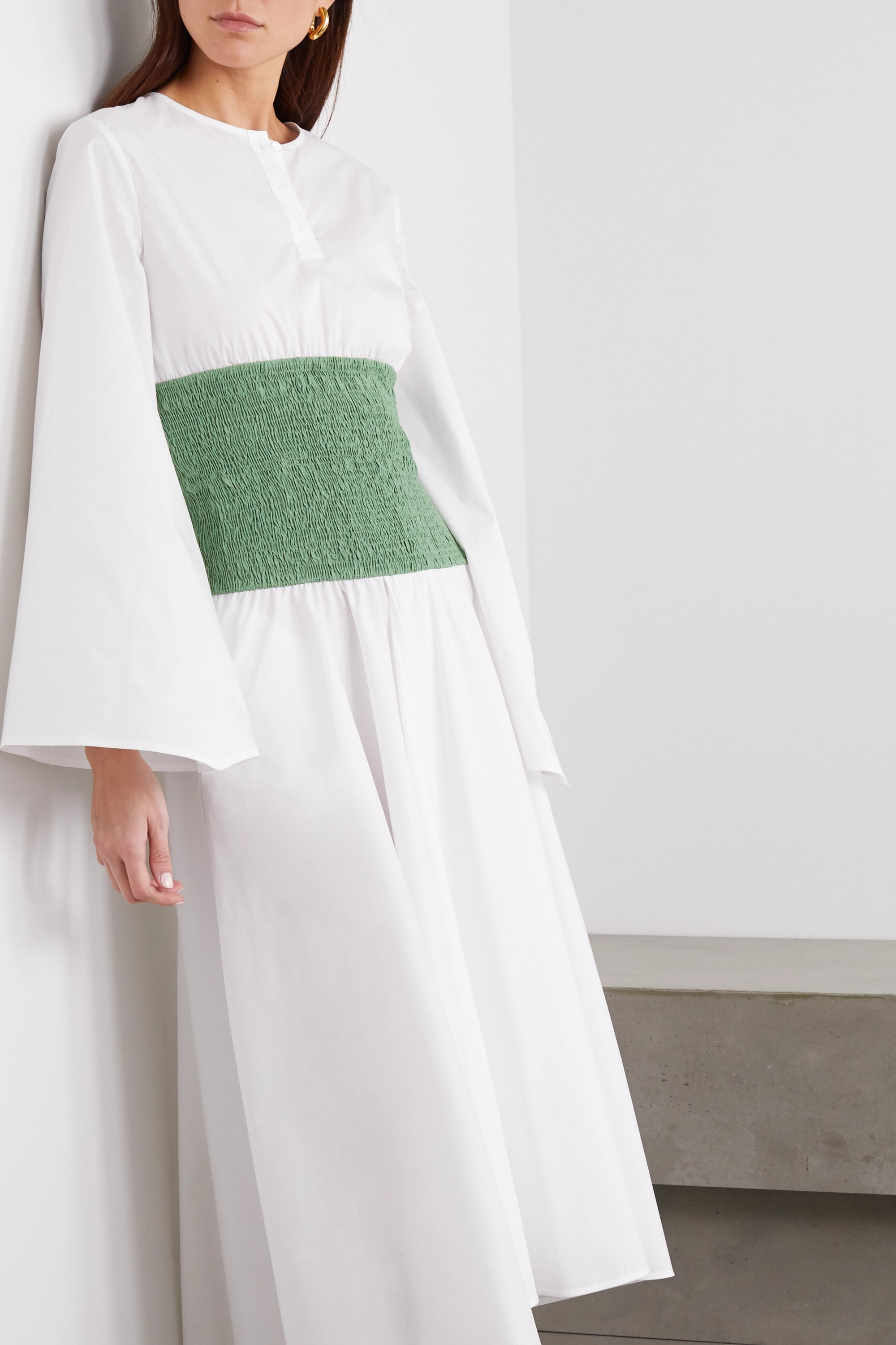 Loewe Two-tone smocked cotton-blend poplin midi dress