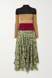 Loewe Needle Punch asymmetric ribbed-knit, felt and printed silk-twill dress