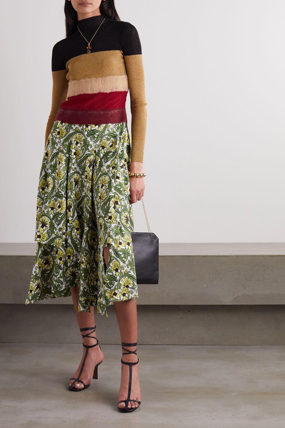 Loewe Needle Punch asymmetric ribbed-knit, felt and printed silk-twill dress