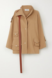 Oversized leather-trimmed cotton-twill parka