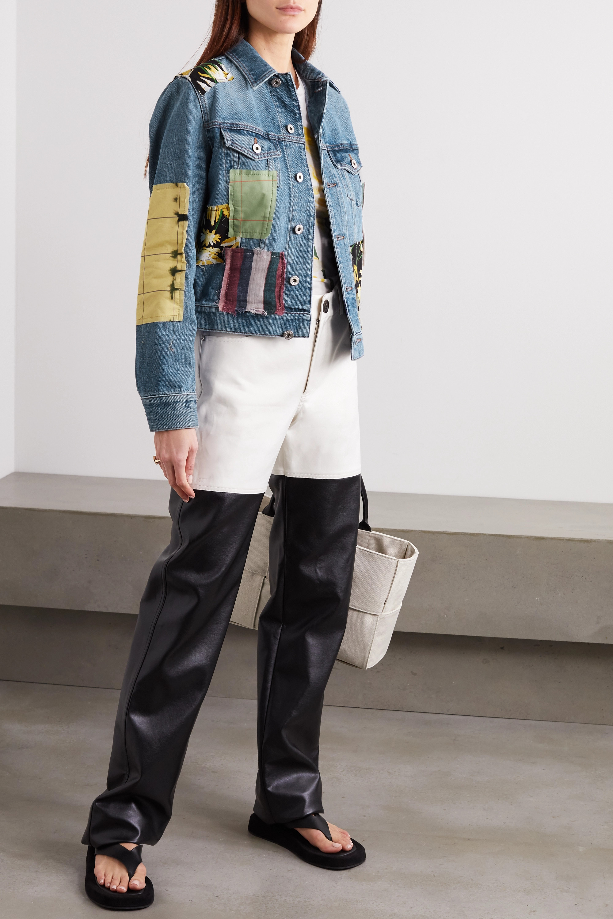 Loewe Patchwork denim printed cotton and silk-blend jacket
