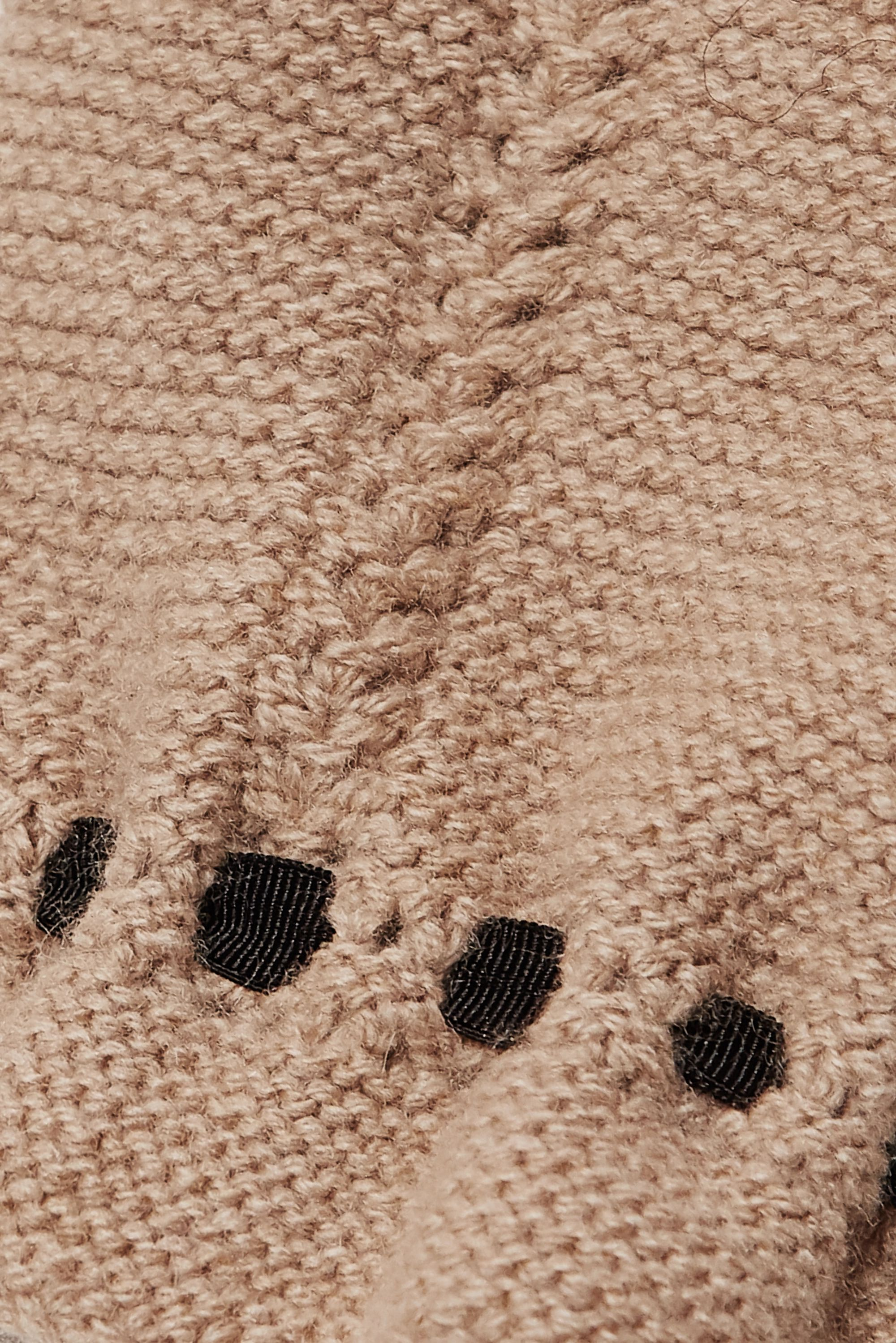 Beige Cropped Tie-detailed Wool And Cashmere-blend Sweater | Loewe