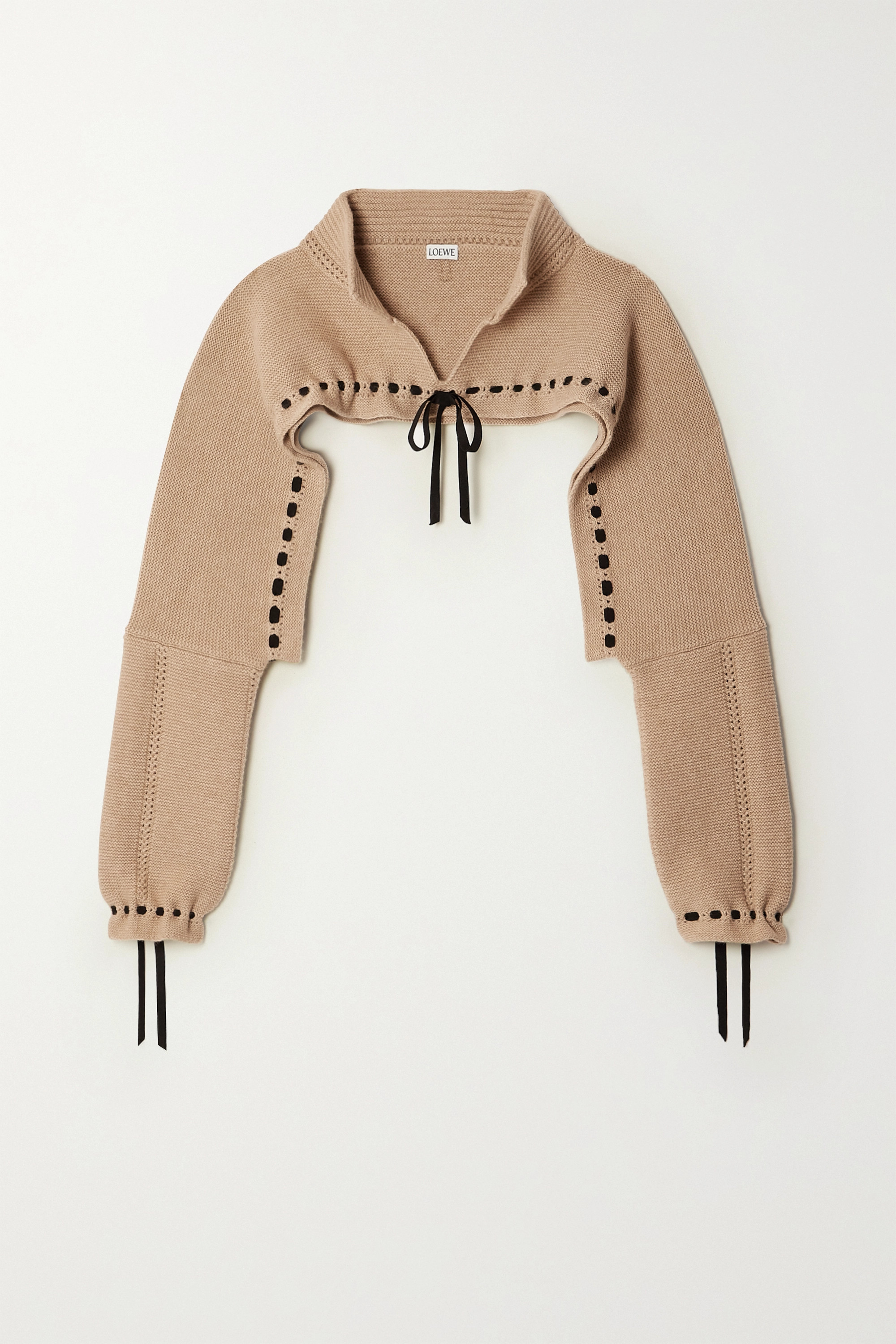 Loewe Cropped tie-detailed wool and cashmere-blend sweater