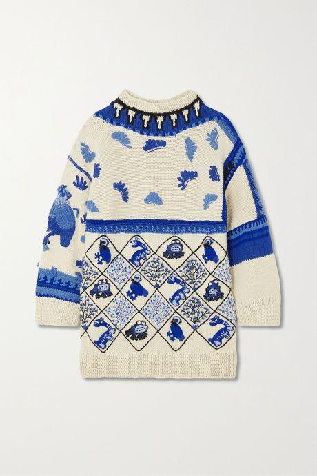 White Oversized embroidered intarsia wool-blend sweater   Loewe yFtltW