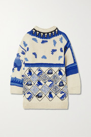 Oversized embroidered intarsia wool-blend sweater