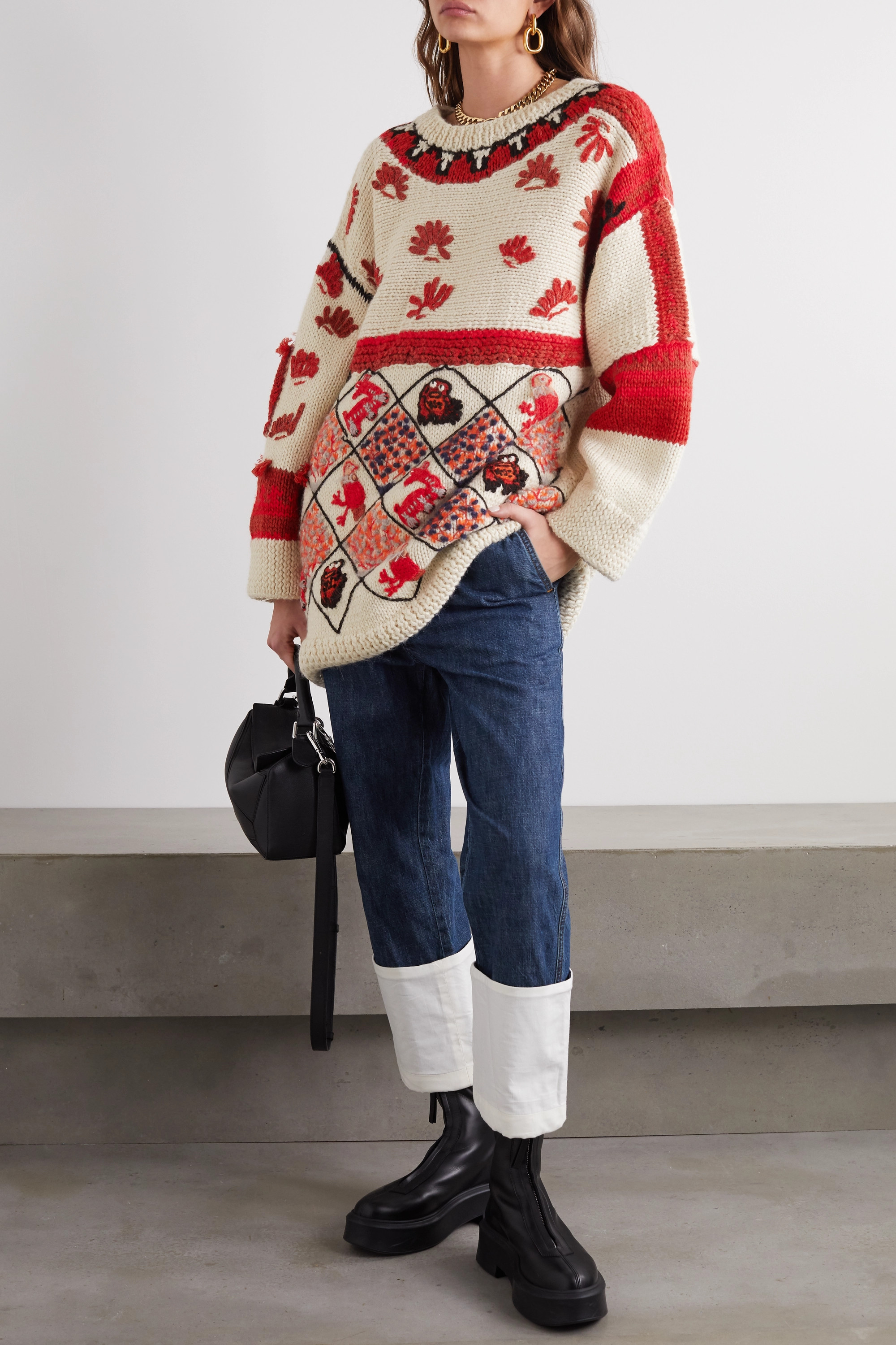 Loewe Oversized embroidered intarsia wool-blend sweater