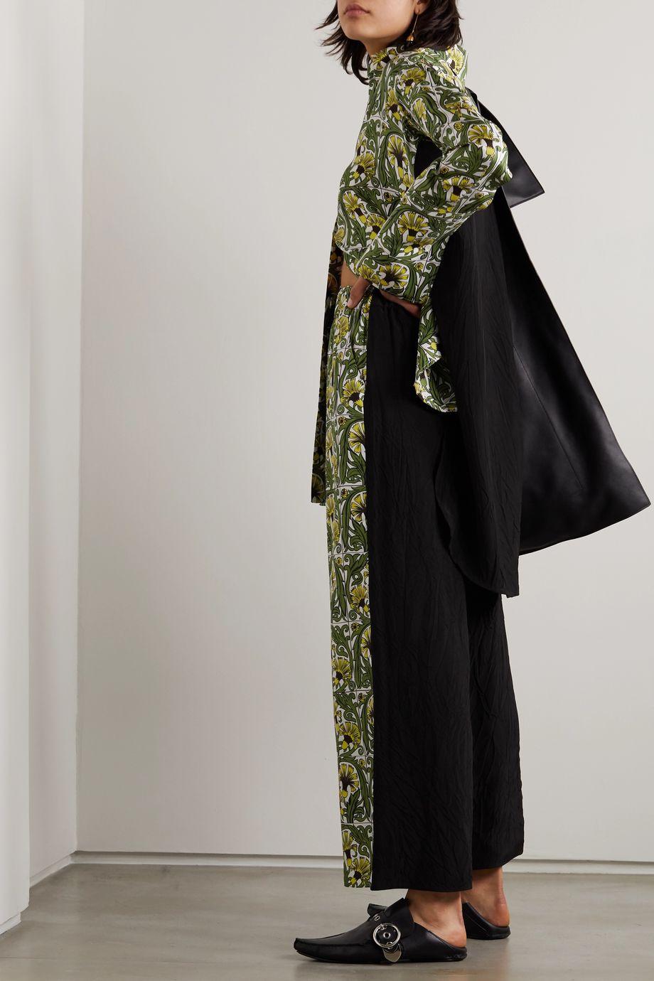 Loewe Printed silk-twill and crepe wide-leg pants