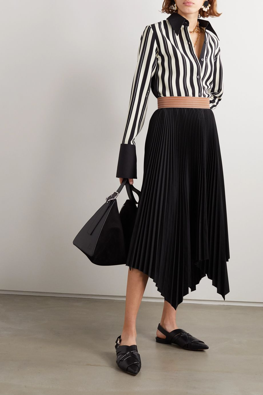 Loewe Leather-trimmed asymmetric pleated crepe midi skirt