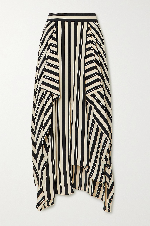 Black Asymmetric Draped Striped Twill Midi Skirt Loewe Net A Porter
