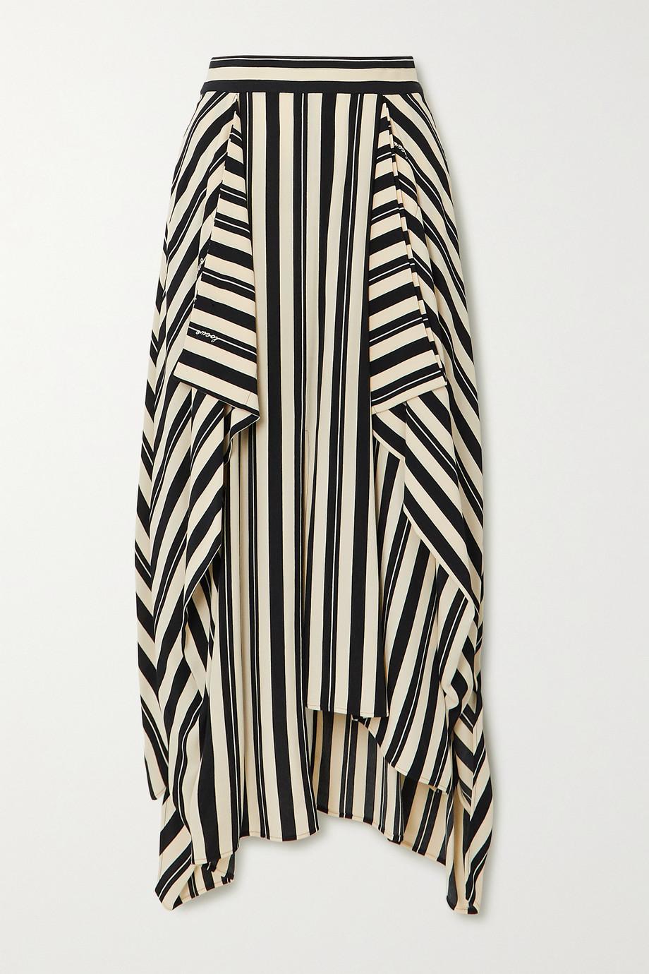 Loewe Asymmetric draped striped twill midi skirt