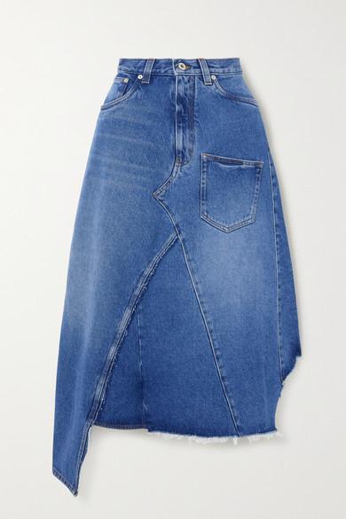 Loewe Asymmetric Cotton Denim Midi Skirt In Blue