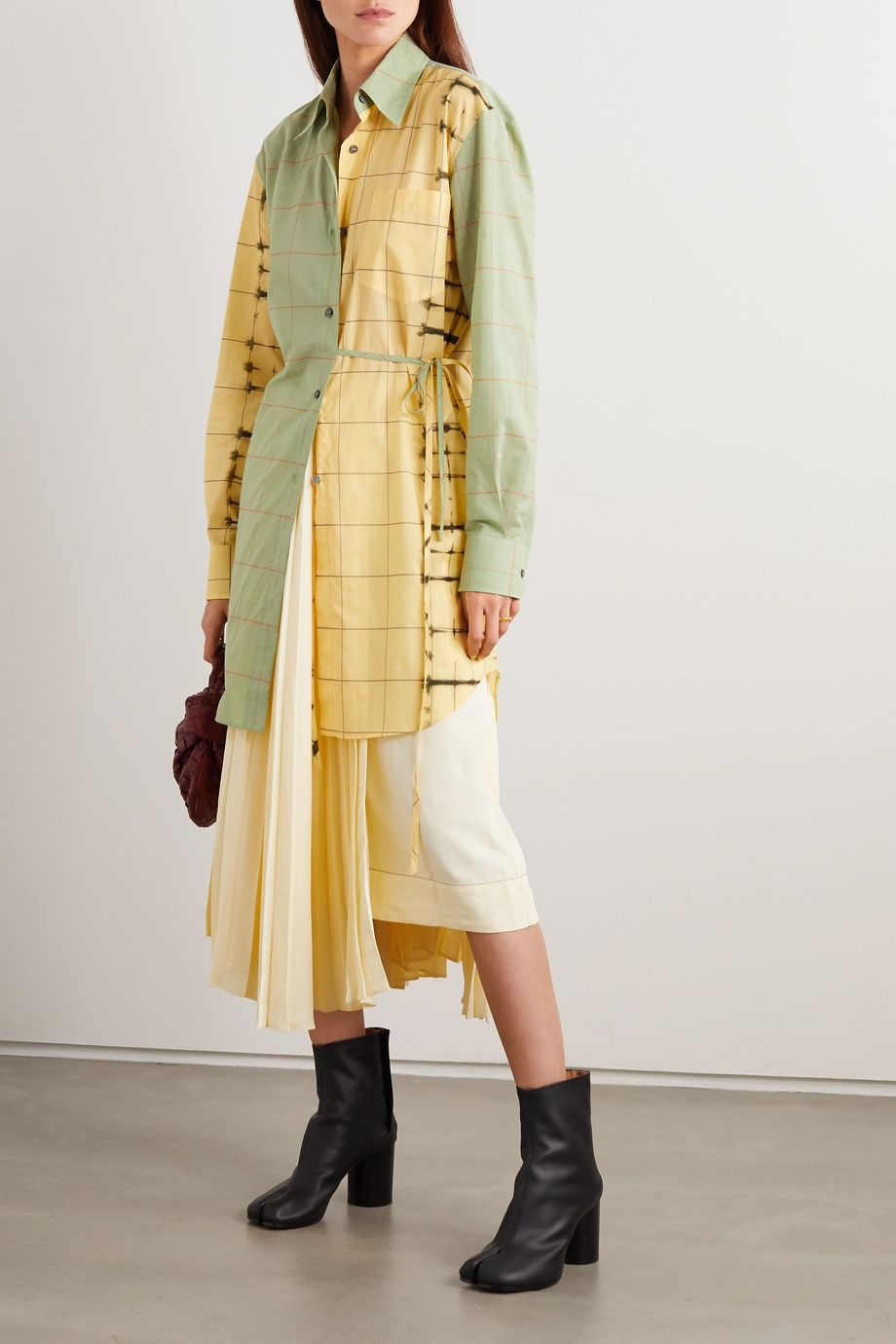 Loewe Belted checked cotton-poplin and cotton and silk-blend shirt