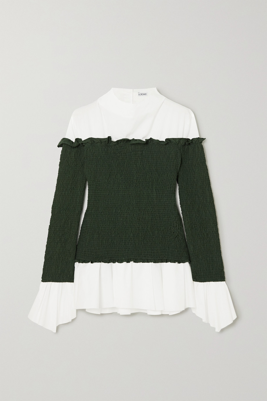 Loewe Layered smocked crepe and cotton-blend poplin blouse