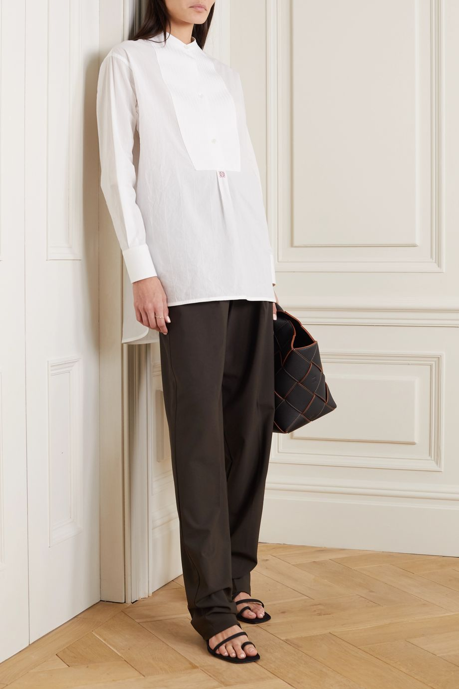 Loewe Oversized embroidered cotton-poplin tunic