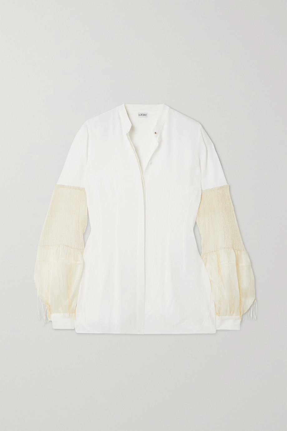 Loewe Crepe de chine and pleated embroidered silk-chiffon blouse