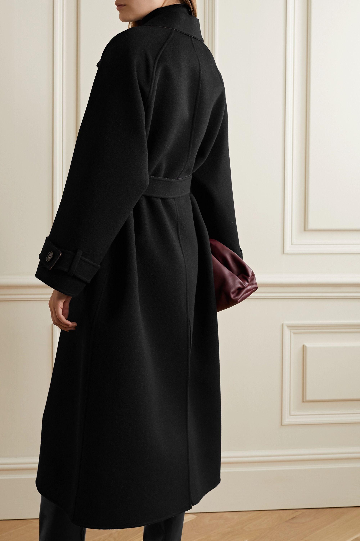 Fendi Wendbarer Mantel aus Jacquard aus einer Woll-Seidenmischung mit Lederbesatz und Gürtel