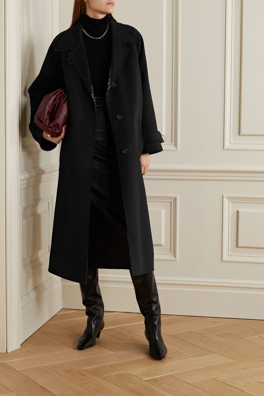 Fendi Reversible belted leather-trimmed wool and silk-blend jacquard coat