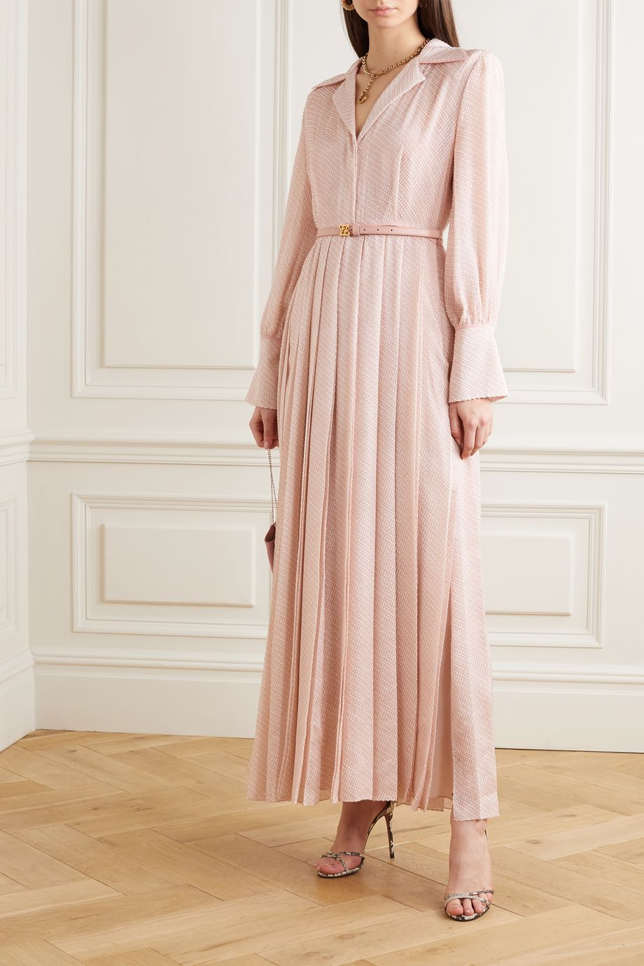 Fendi Belted pleated silk-blend cloqué maxi dress