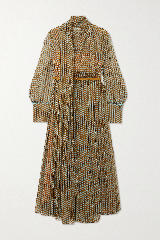 Fendi Belted draped pleated printed silk-chiffon midi dress