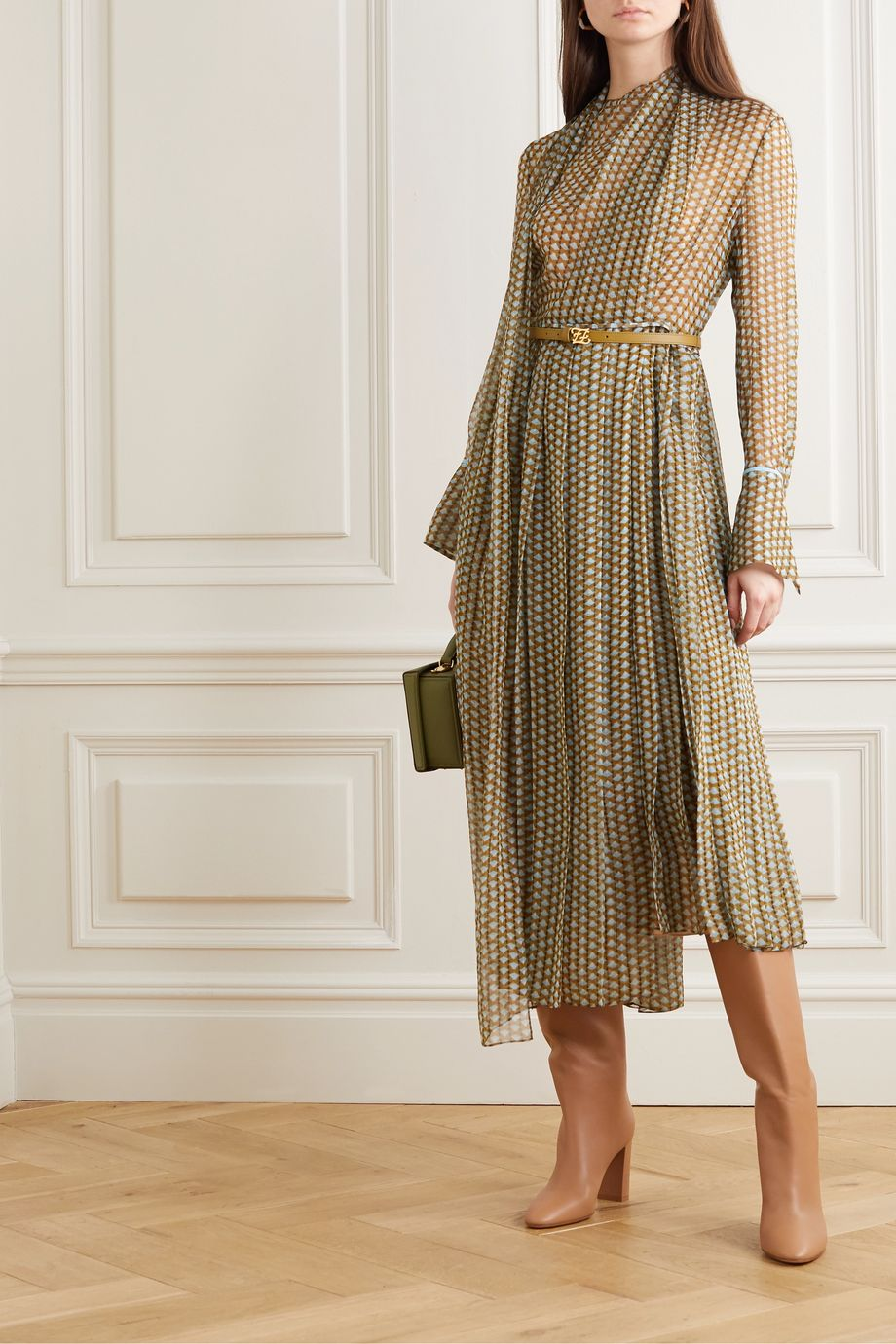 Fendi Belted draped pleated printed silk-chiffon midi dress