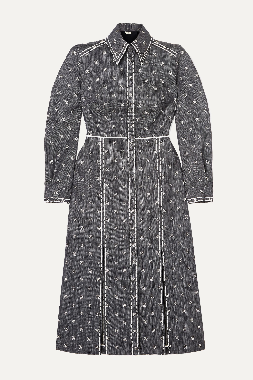 Fendi Embroidered denim midi dress