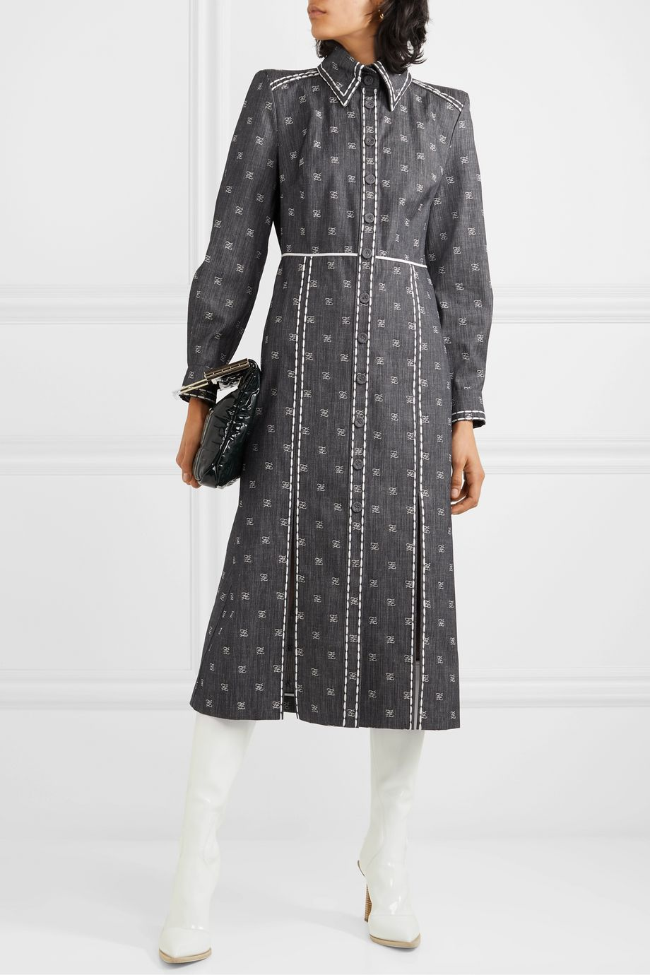 Fendi Embroidered denim midi dress