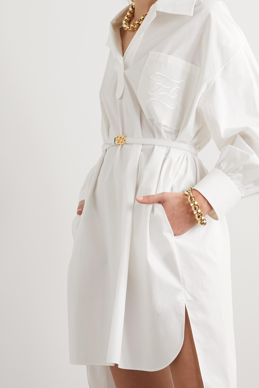 Fendi Belted embroidered cotton-poplin mini dress