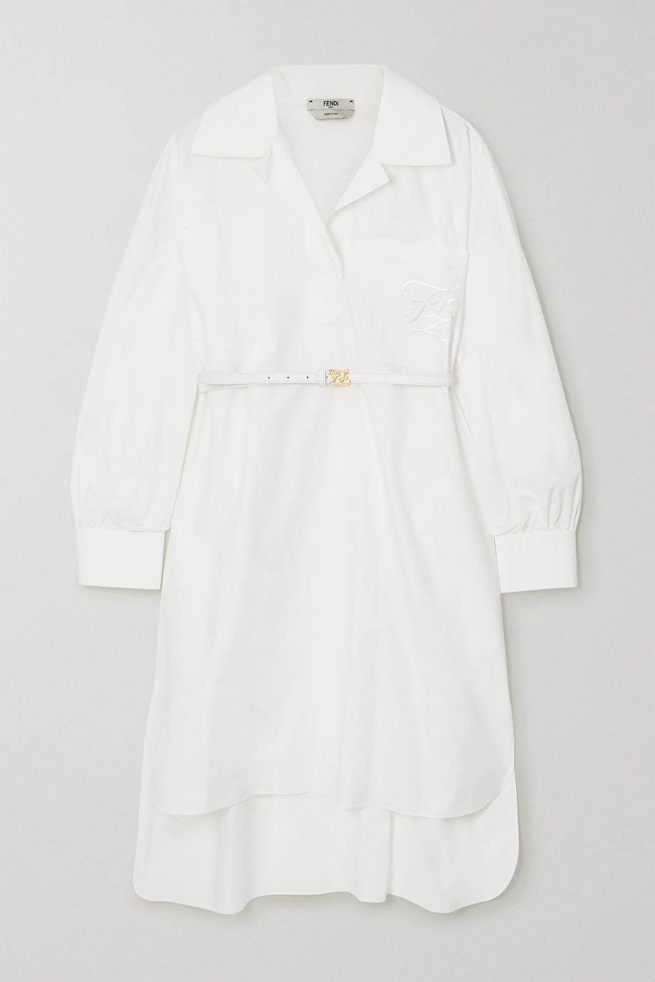 Fendi Belted embroidered cotton-poplin mini dress