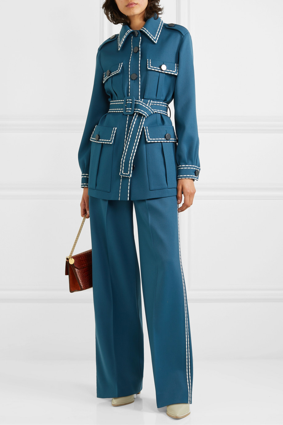 Fendi Belted topstitched wool-drill blazer