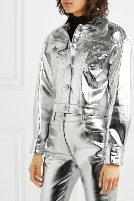 Cropped metallic denim jacket