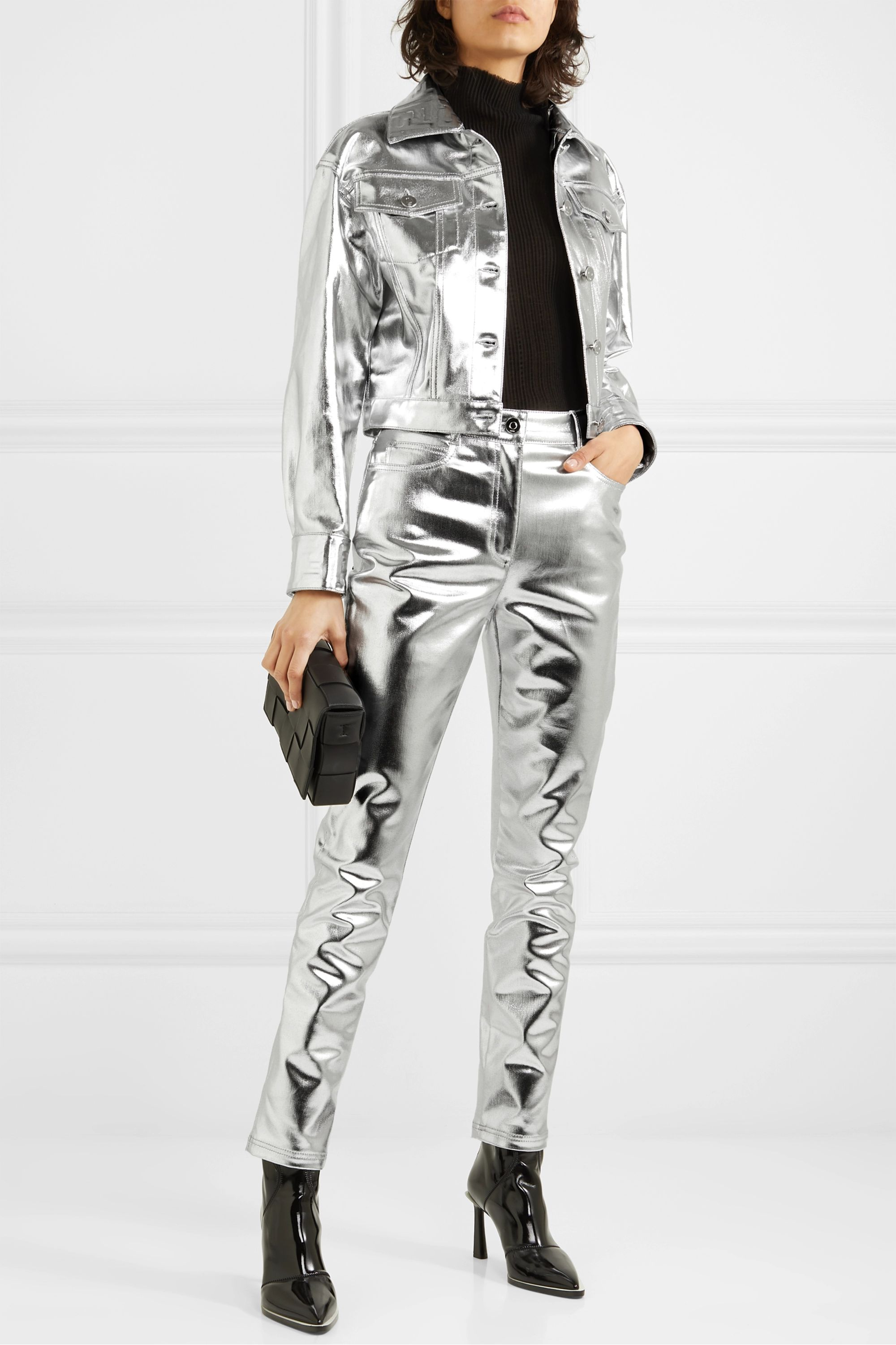 Fendi Cropped metallic denim jacket