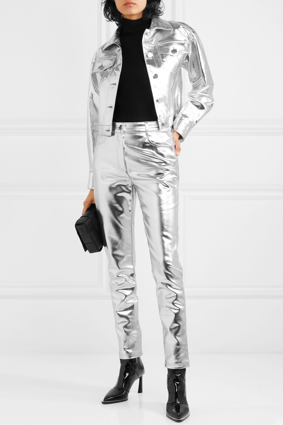 Fendi Metallic coated high-rise slim-leg jeans