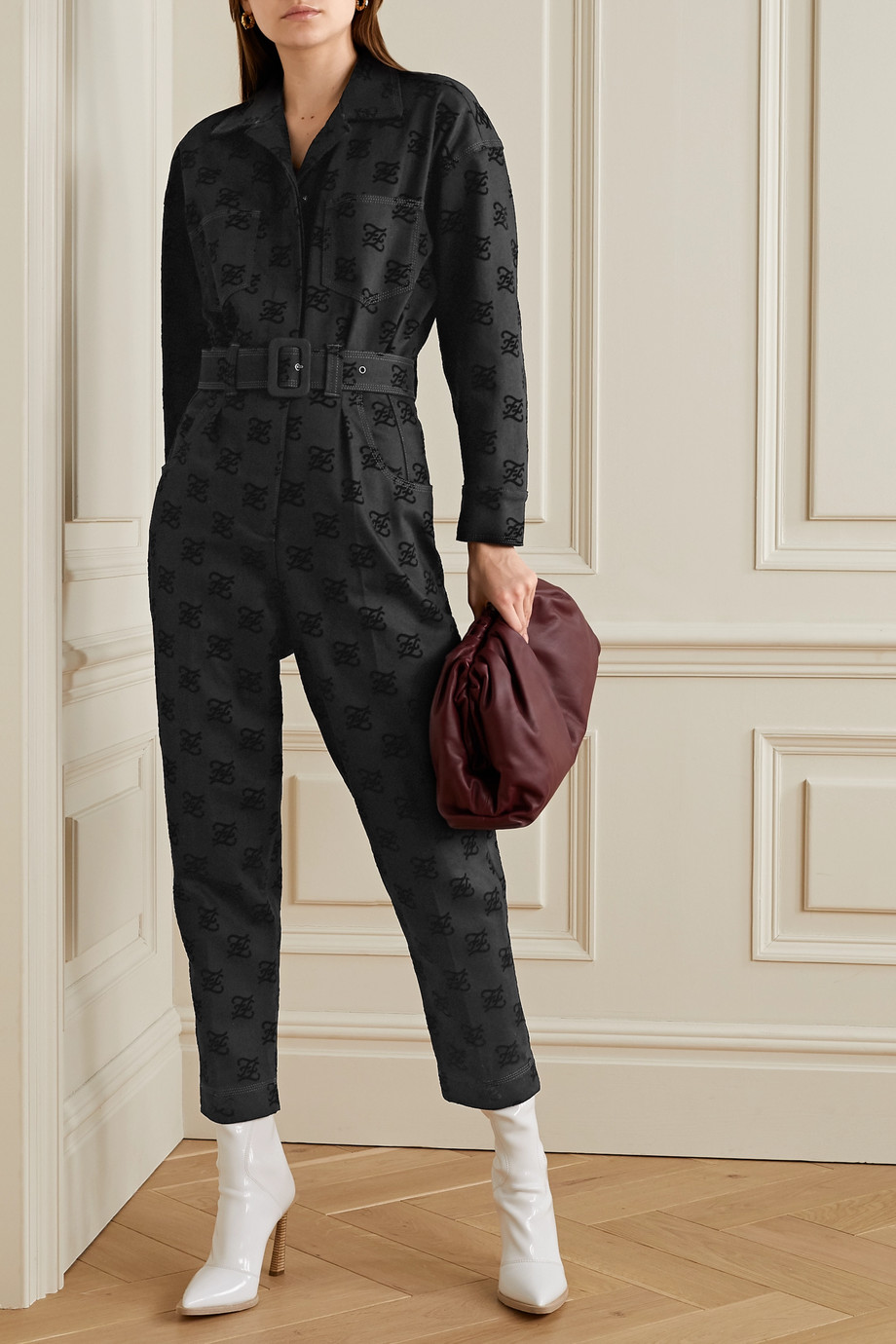 Fendi Belted flocked cotton-blend jumpsuit