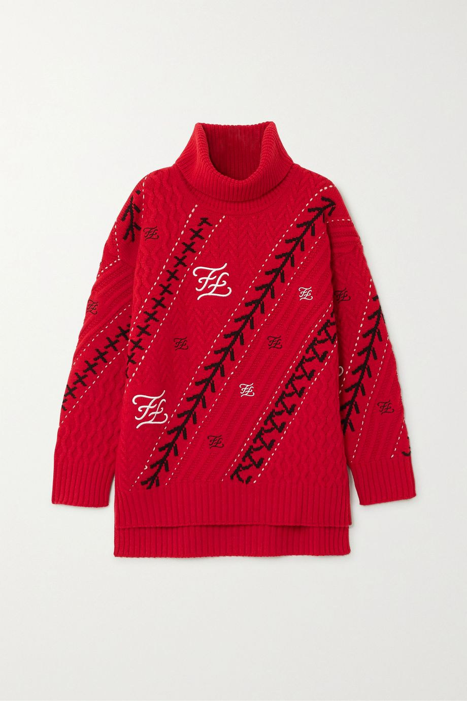 Fendi Embroidered cable-knit wool and cashmere-blend sweater