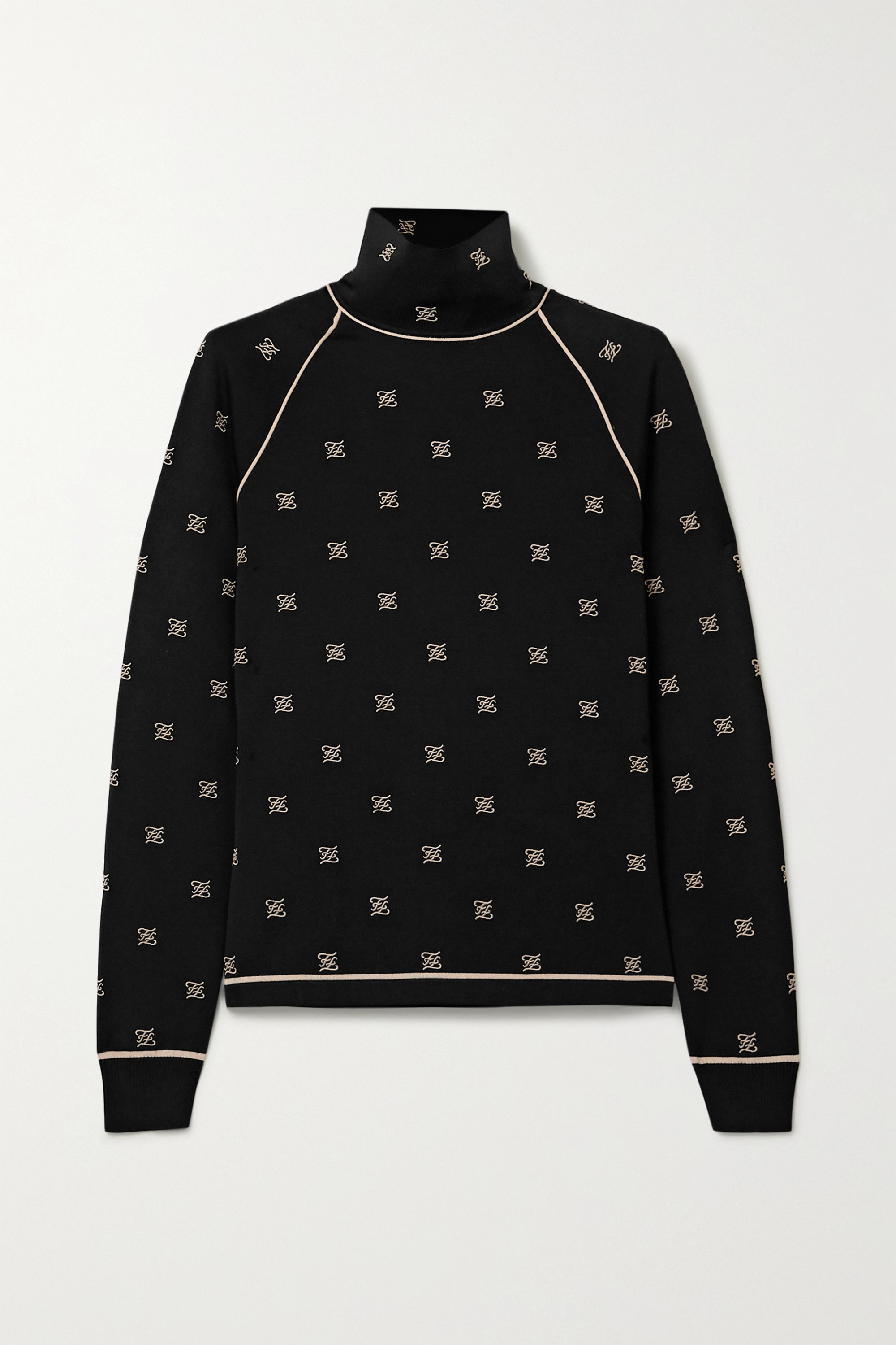 Fendi Embroidered stretch-jersey turtleneck top