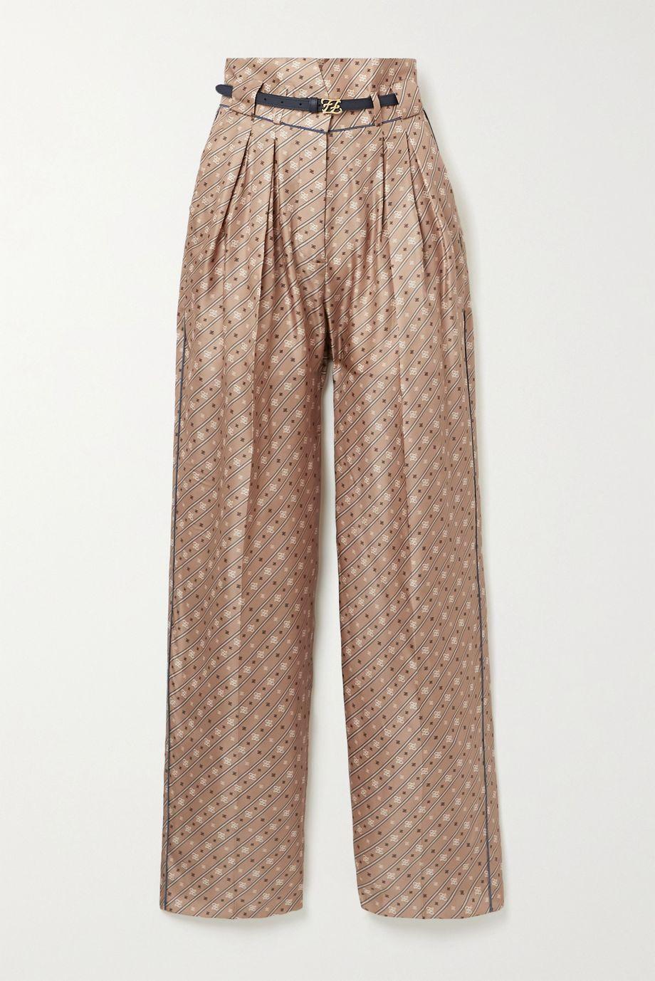 Fendi Belted printed silk-satin twill wide-leg pants