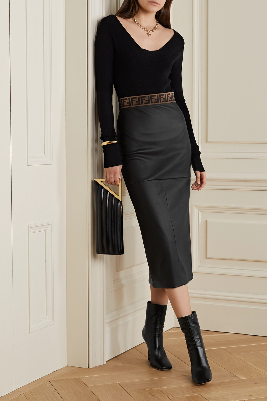 Fendi Jacquard-trimmed leather midi skirt