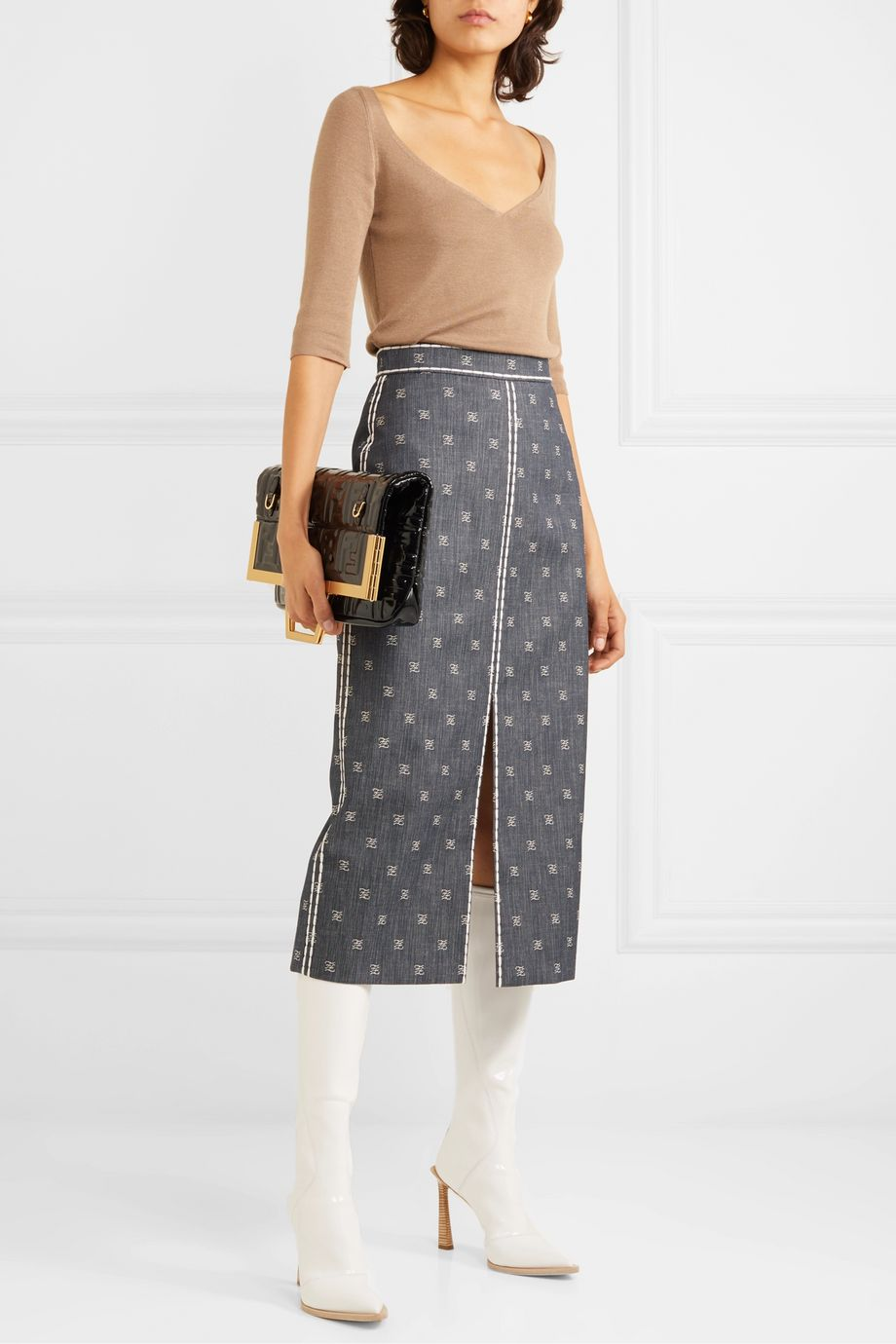 Fendi Embroidered denim midi skirt