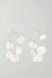 Pearls of Joy medium 14-karat gold pearl hoop earrings