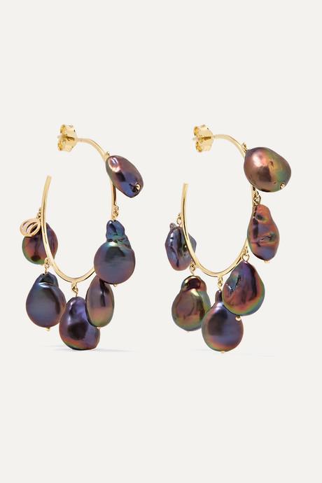Black Pearls of Joy medium 14-karat gold iridescent pearl hoop earrings   Charms Company qtbgpv