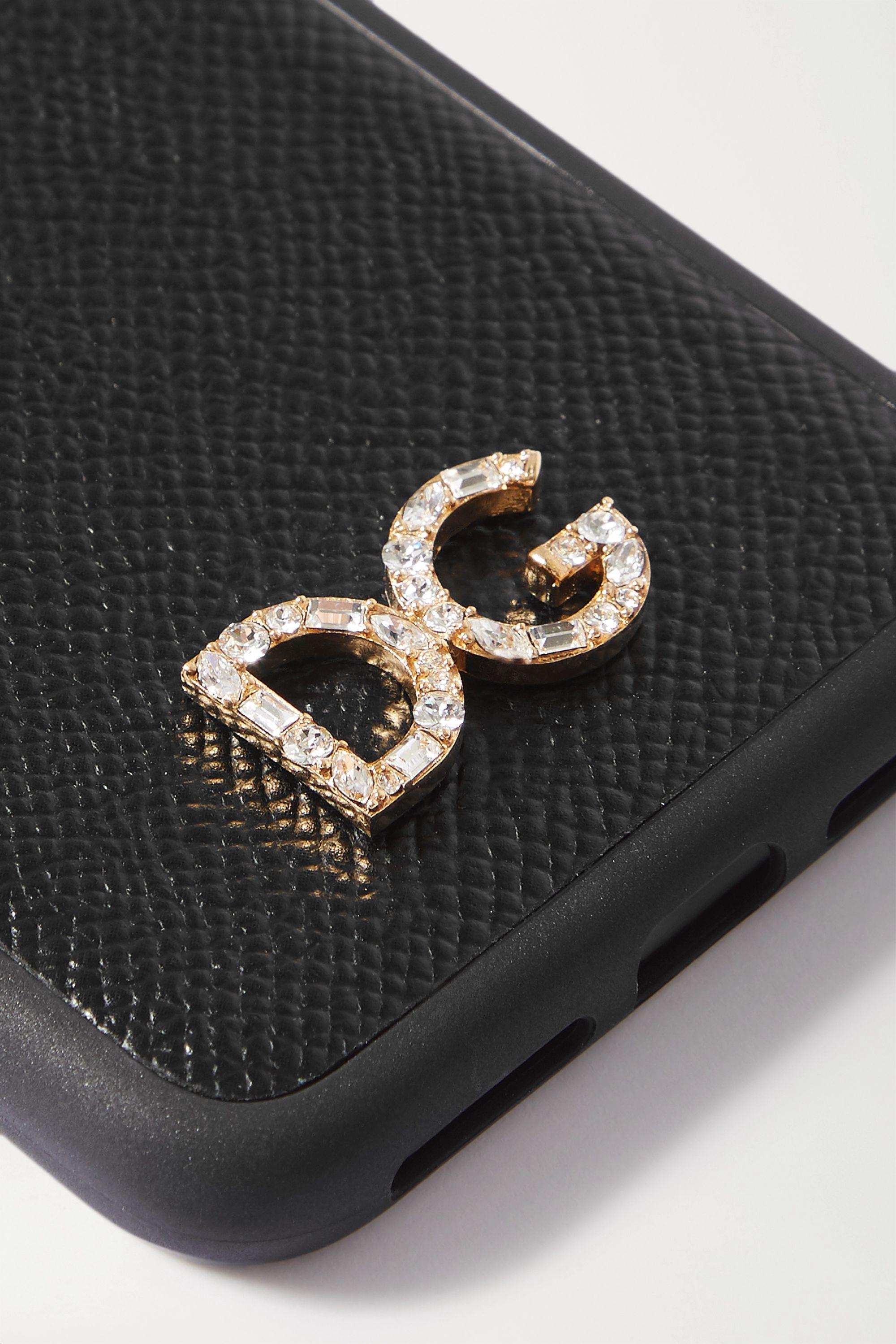Dolce & Gabbana iPhone X- und XS-Hülle aus strukturiertem Leder mit Kristallen
