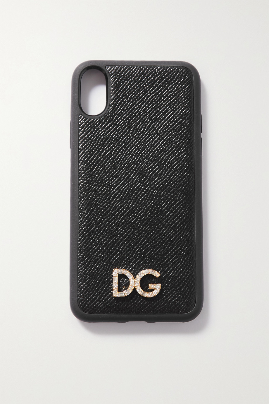 Dolce & Gabbana Crystal-embellished textured-leather iPhone X and XS case