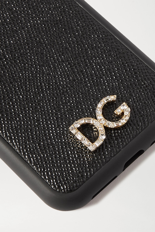 Dolce & Gabbana iPhone XR-Hülle aus strukturiertem Leder mit Kristallen