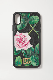 Dolce & Gabbana Floral-print textured-leather iPhone X and XS case