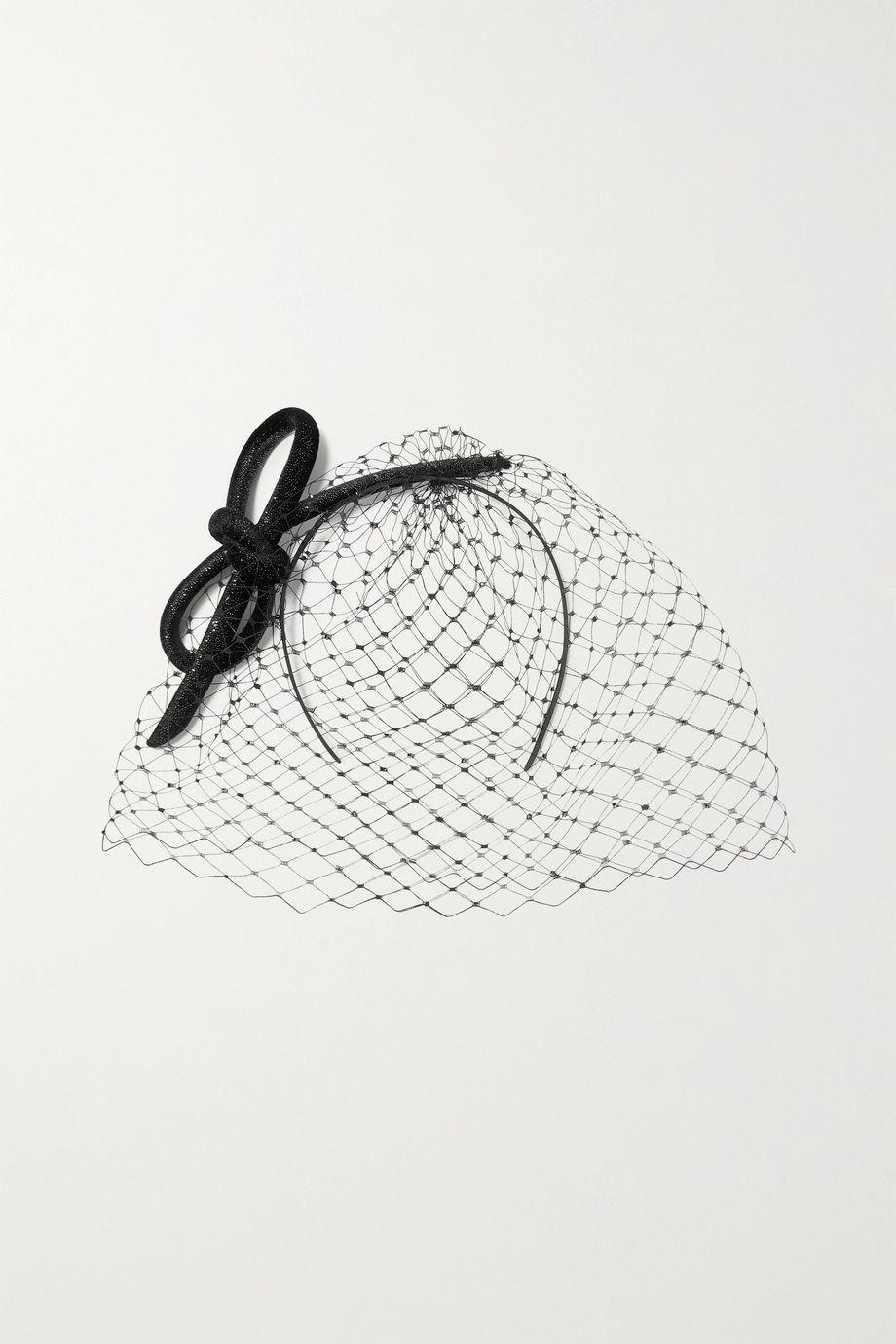 Philip Treacy Crystal-embellished mesh and glittered velvet fascinator