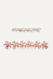 Set of two rhodium-plated freshwater pearl hair slides